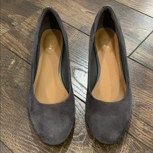 Clarks Artisan Gray Suede Wedges